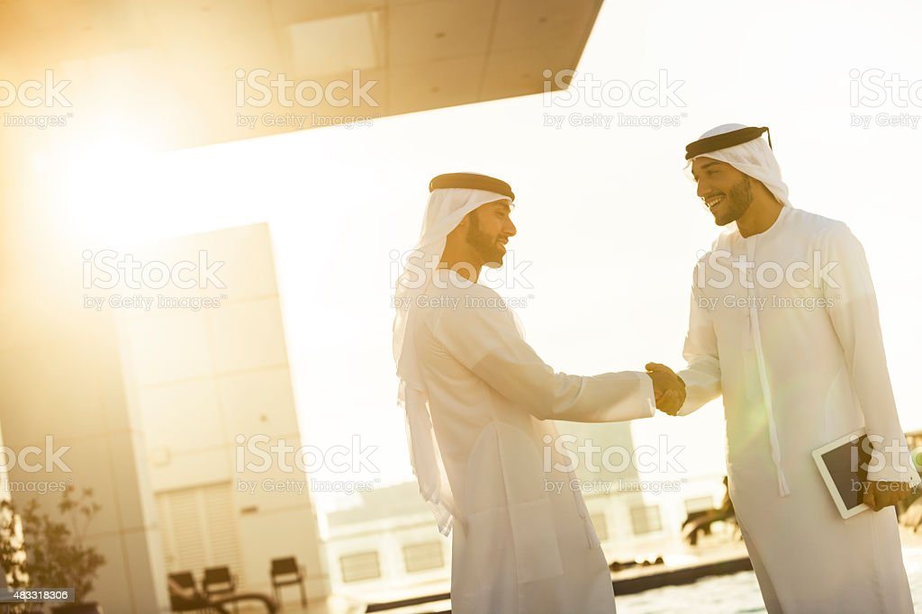Arabs Shaking Hands stock photo