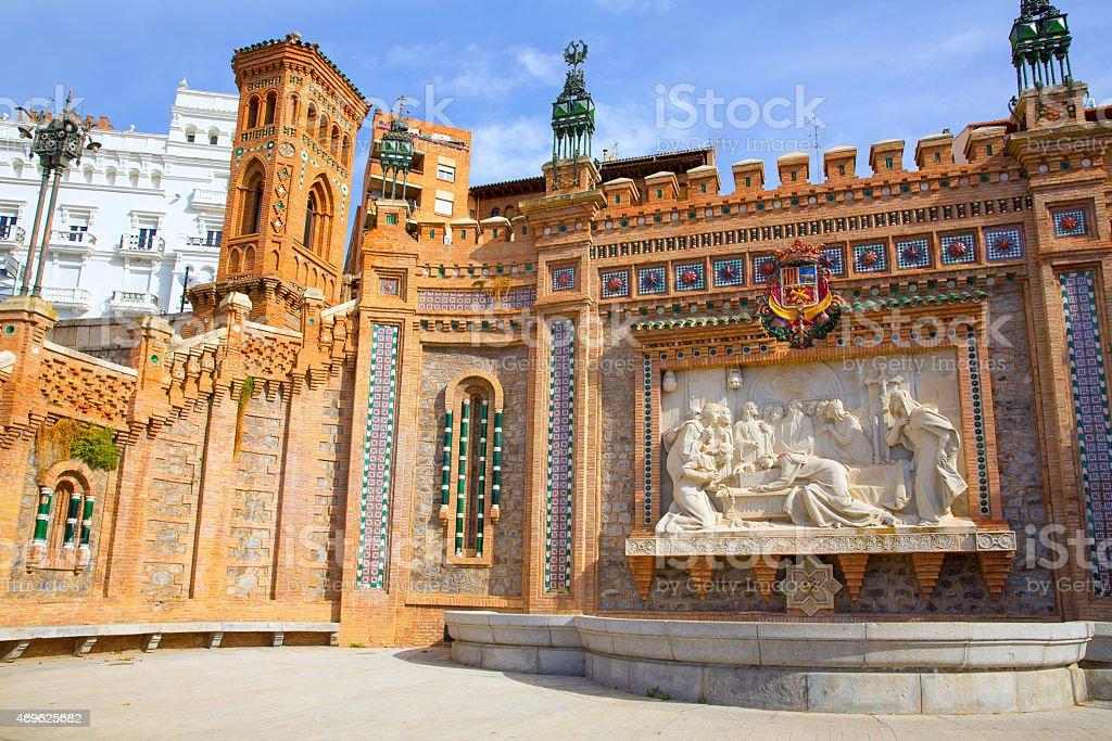 Aragon Teruel Amantes fountain in La Escalinata Spain stock photo