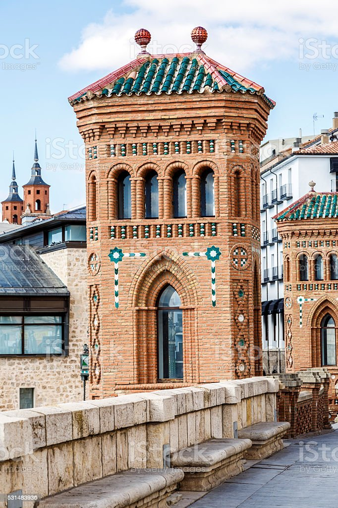 Aragon Teruel Mudejar city buildings near Escalinata stock photo