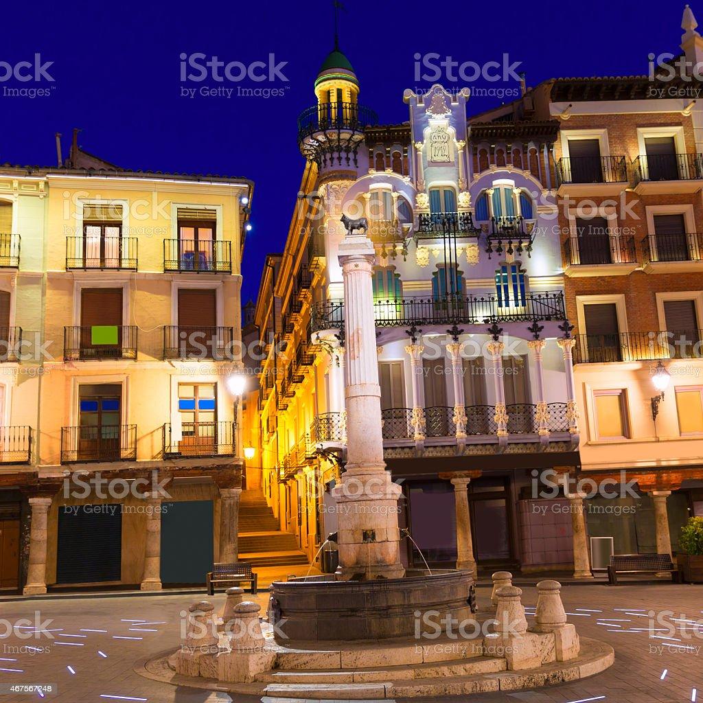Aragon Teruel plaza el Torico Carlos Castel square Spain stock photo