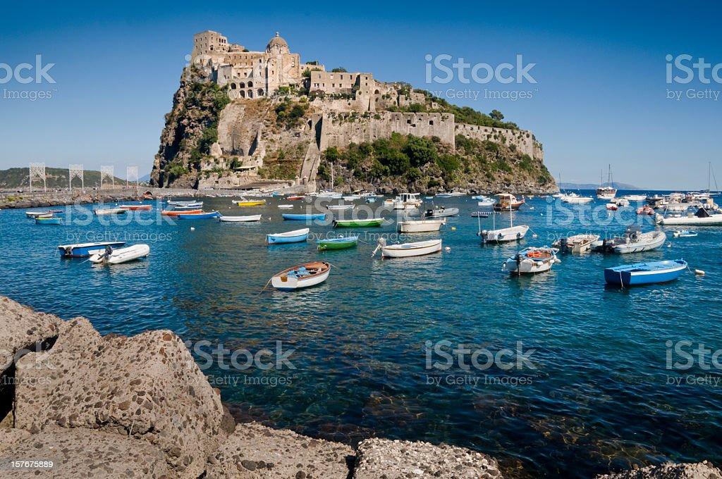 Aragonese castle in Ischia stock photo