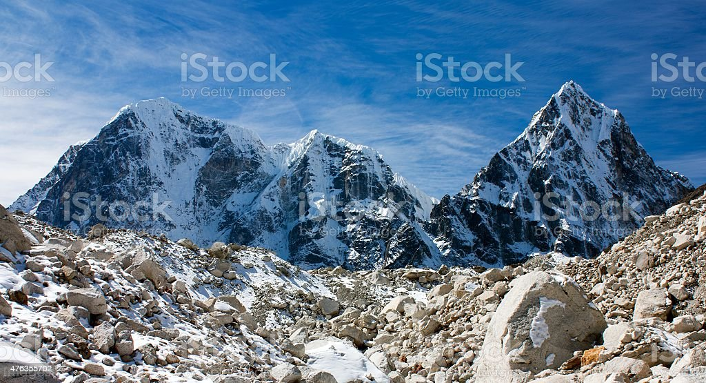 Arakam Tse, cholatse and Tabuche Peak stock photo