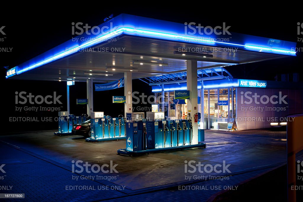 Aral Gas station, night shot royalty-free stock photo