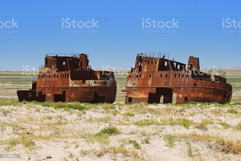 Aral Sea Ships stock photo