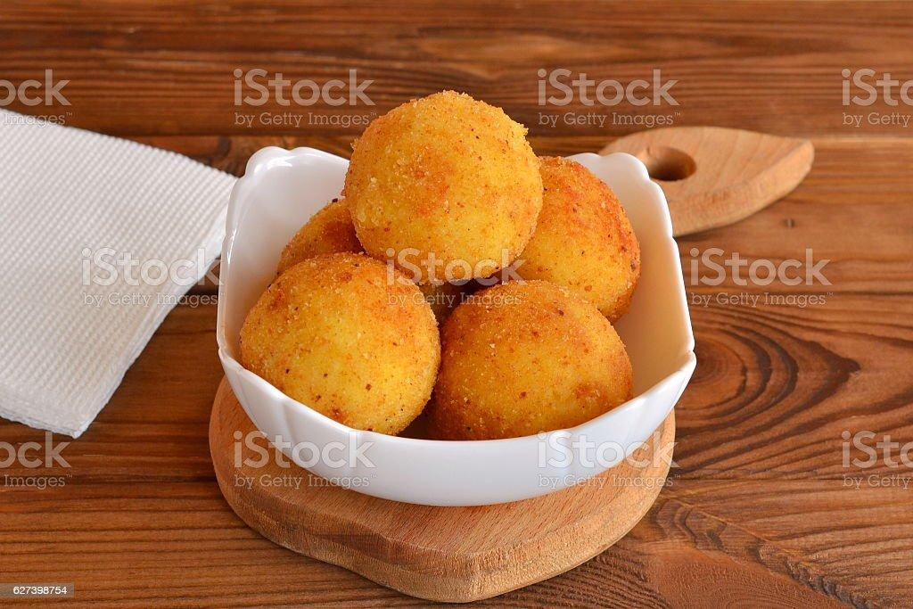 Arancini balls on a plate stock photo