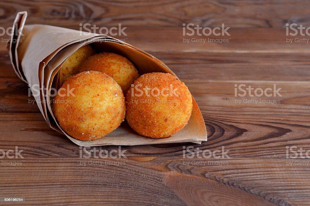 Arancini balls stock photo