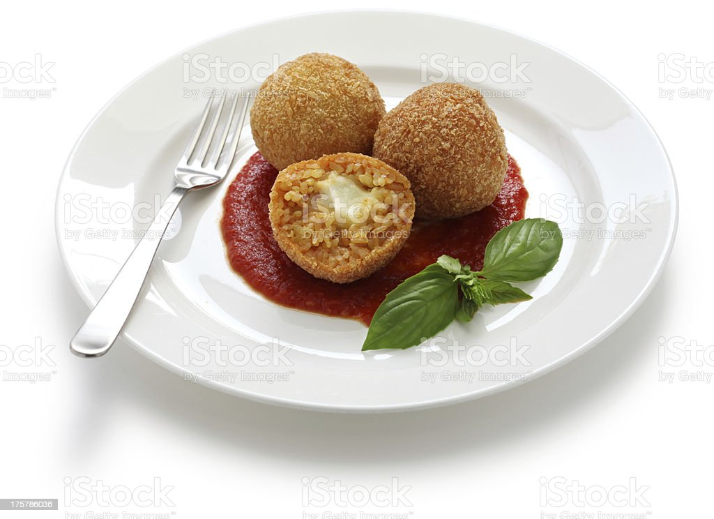 arancini, fried rice balls stock photo
