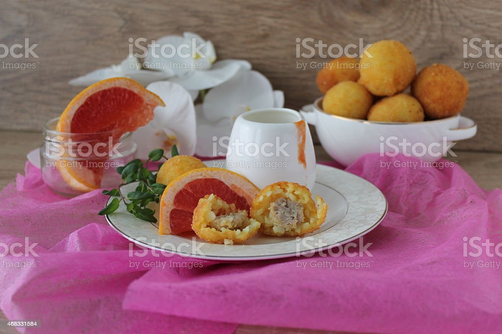 Arancini with meat filling stock photo
