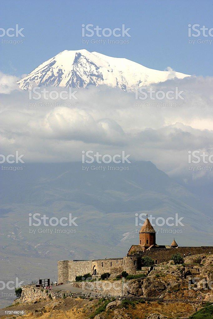 Ararat and church stock photo