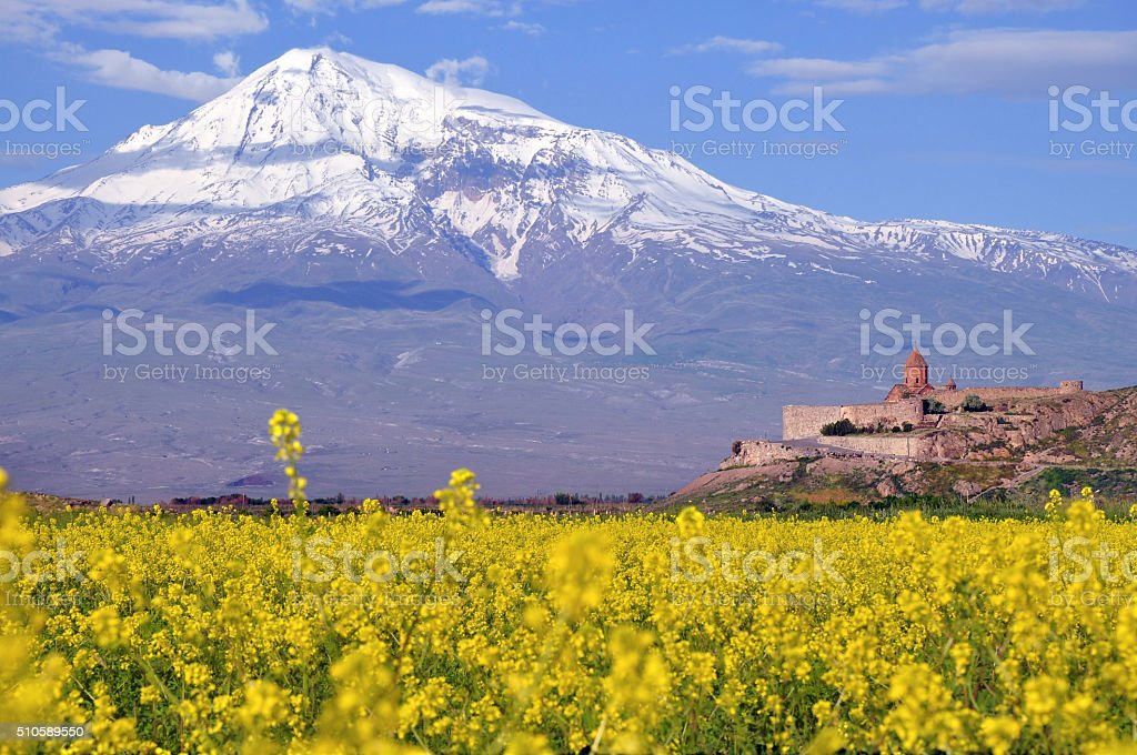 Ararat in Armenia and sacred Khor Virap monastery stock photo