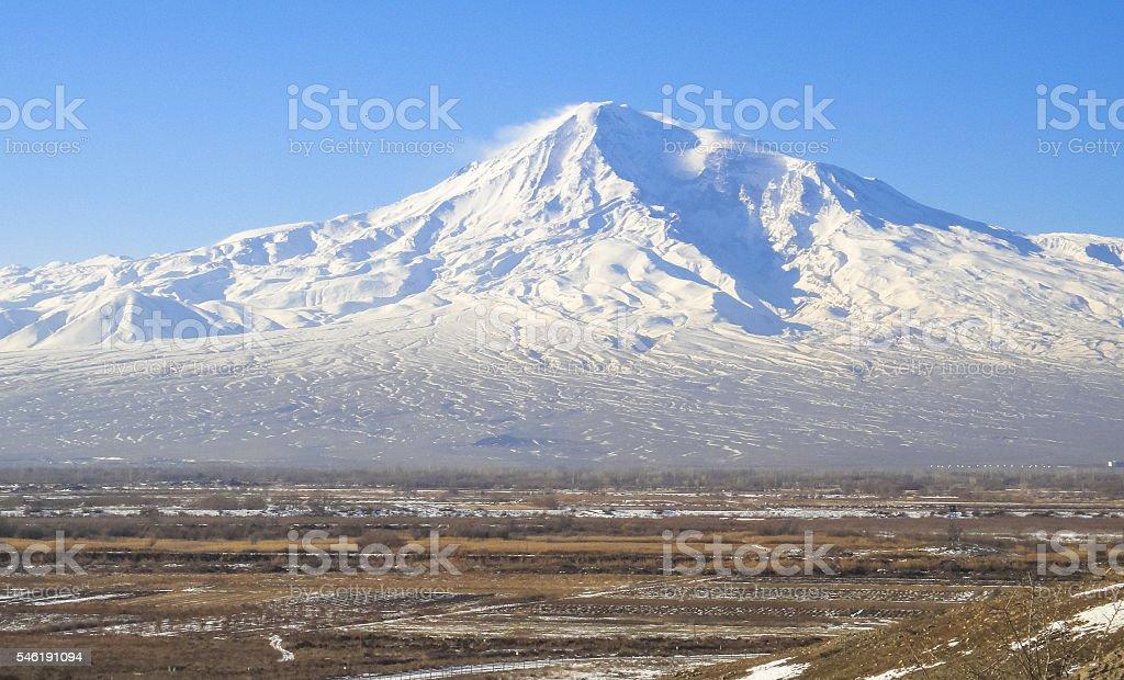 Ararat mountains and Khor Virap monastery territory. Ancient Artashat stock photo