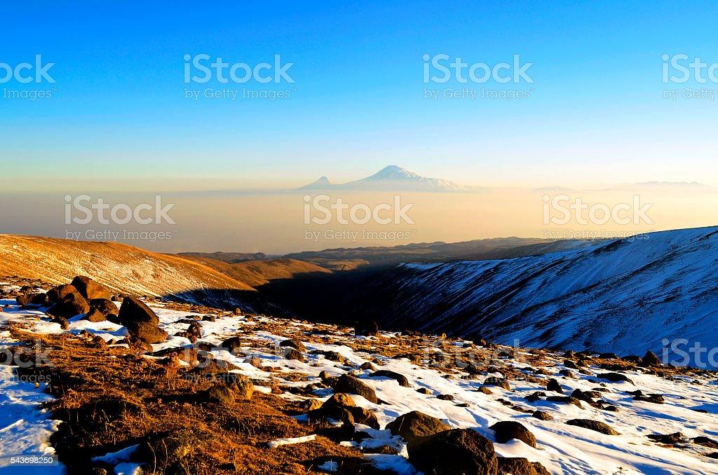 Ararat near and far stock photo