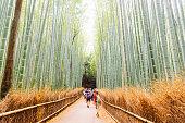 Arashiyama Bamboo Grove Pathway Through Trees with Tourists