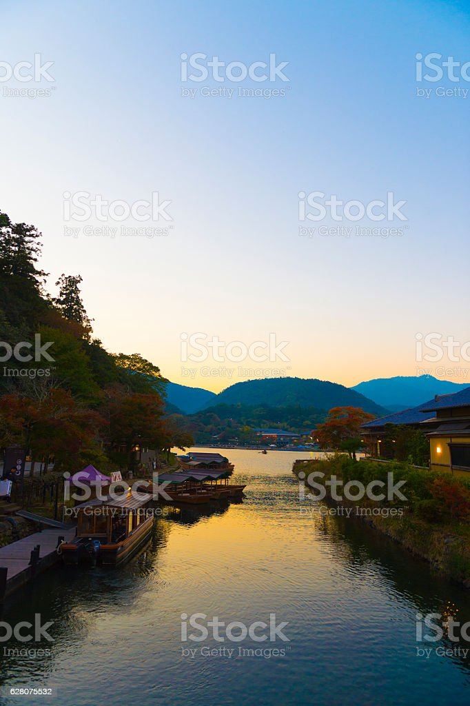 arashiyama sagano kyoto sunset stock photo
