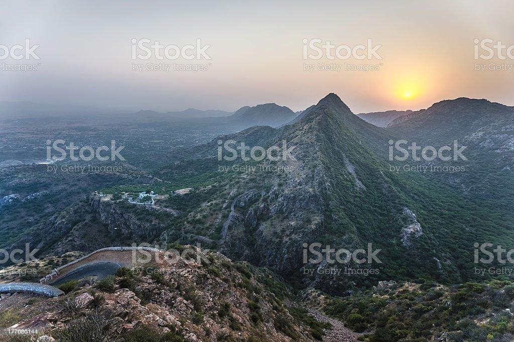 Aravalli Hills at sunset, Ajmer, Rajasthan, India. stock photo