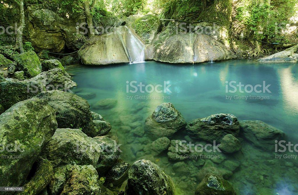 arawan waterfall in Kanchanaburi Thailand stock photo