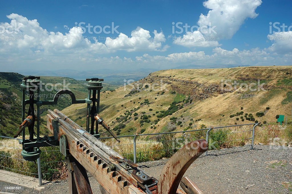 Arbalest model at Israeli national park Gamla fortress,Golan Hights stock photo