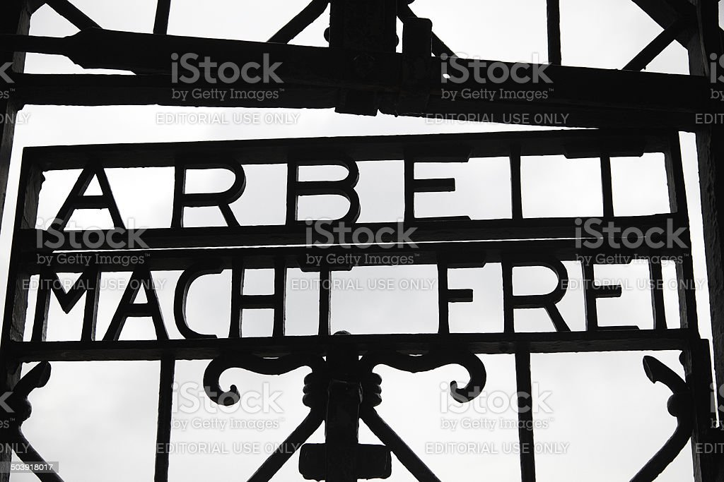 'Arbeit Macht Frei' inscription - Dachau stock photo