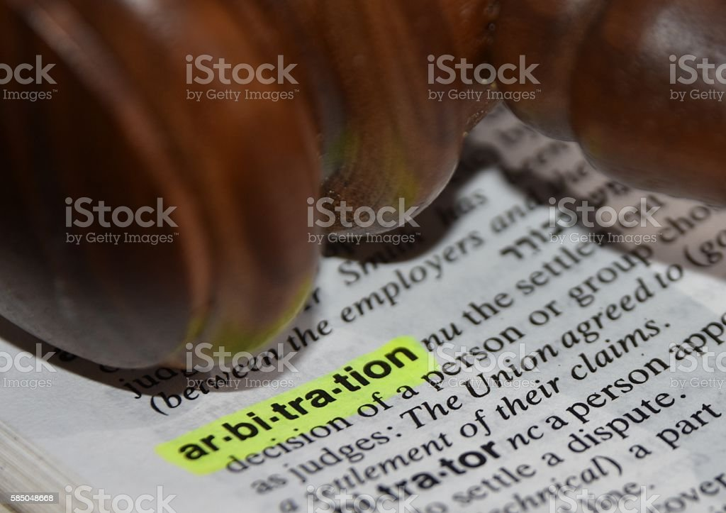Arbitration - dictionary definition stock photo