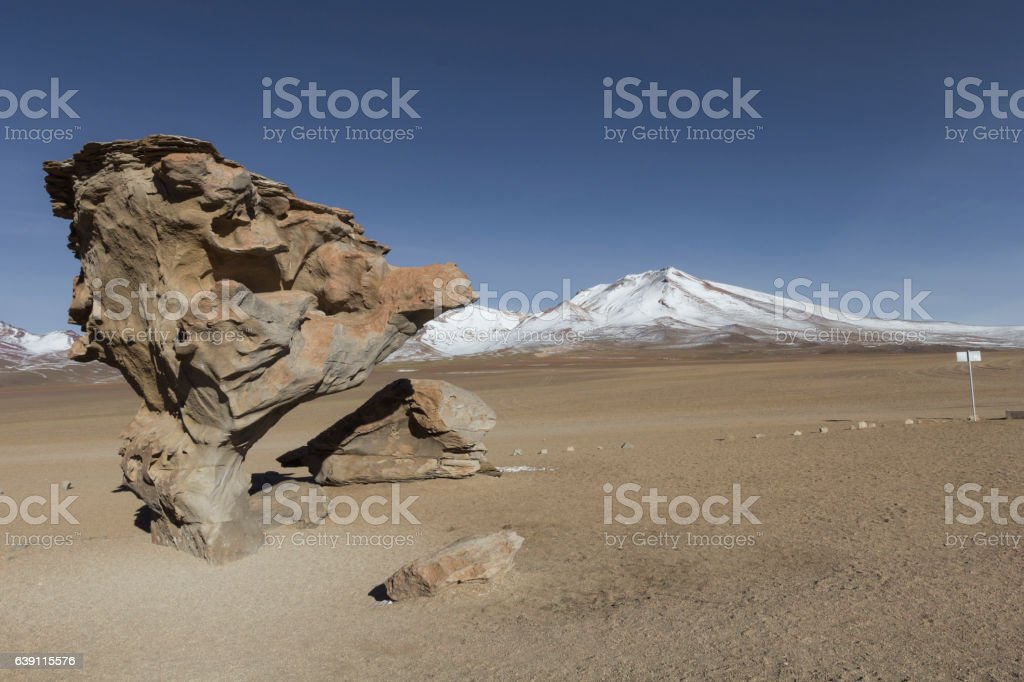 Arbol de Piedra (Stone tree) is an isolated rock formation stock photo