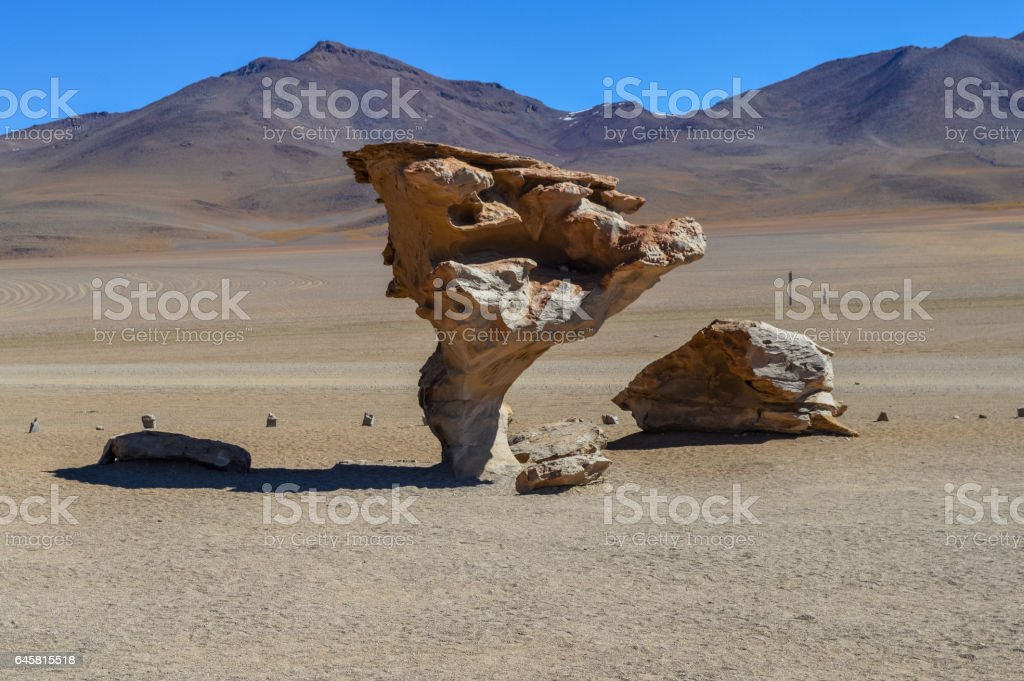 Arbol de Piedra or stone tree on Altiplano, Bolivia stock photo