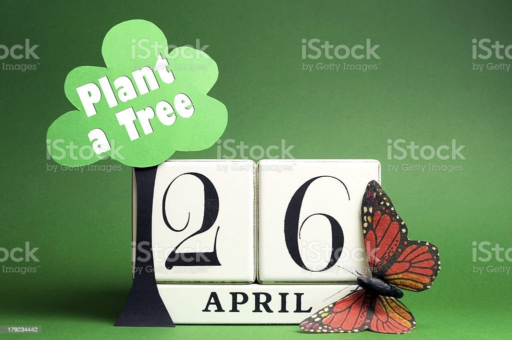 Arbor Day, plant a tree on April 26 with a Sabe the Date white block...