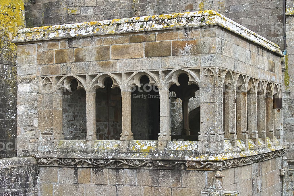 Arbour in the abbey of Mont Saint Michel. Normandy, France stock photo