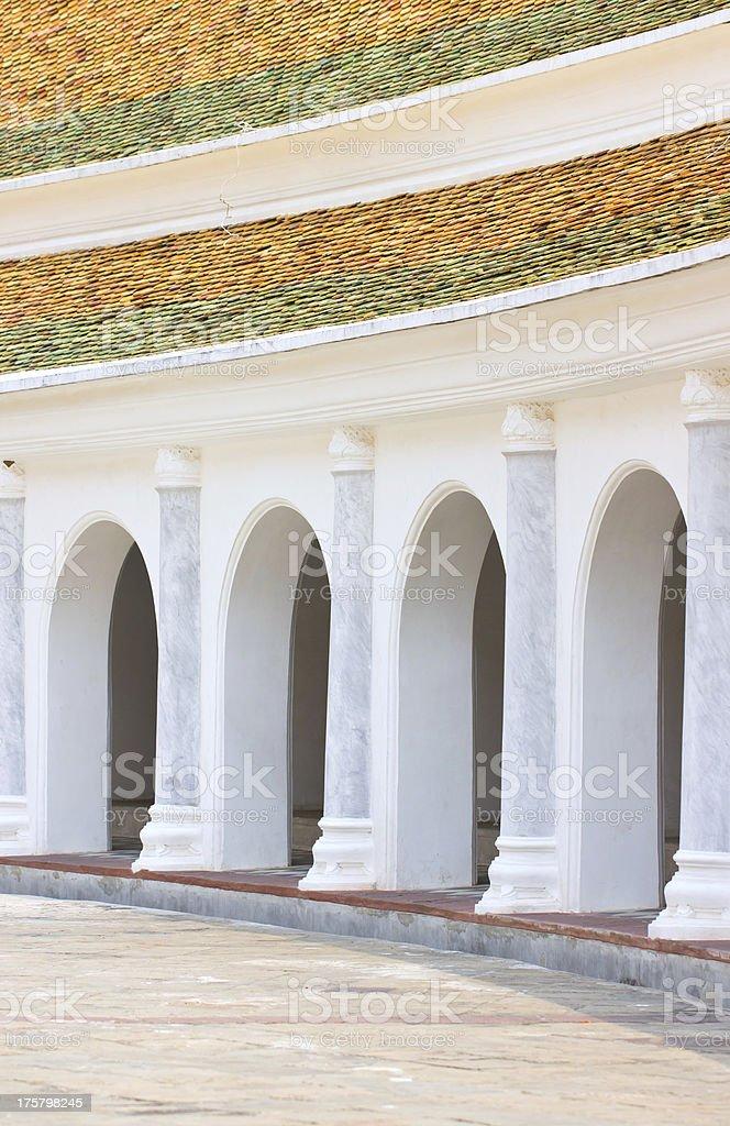 Arc balcony walkway at Phra Pathom Chedi. stock photo