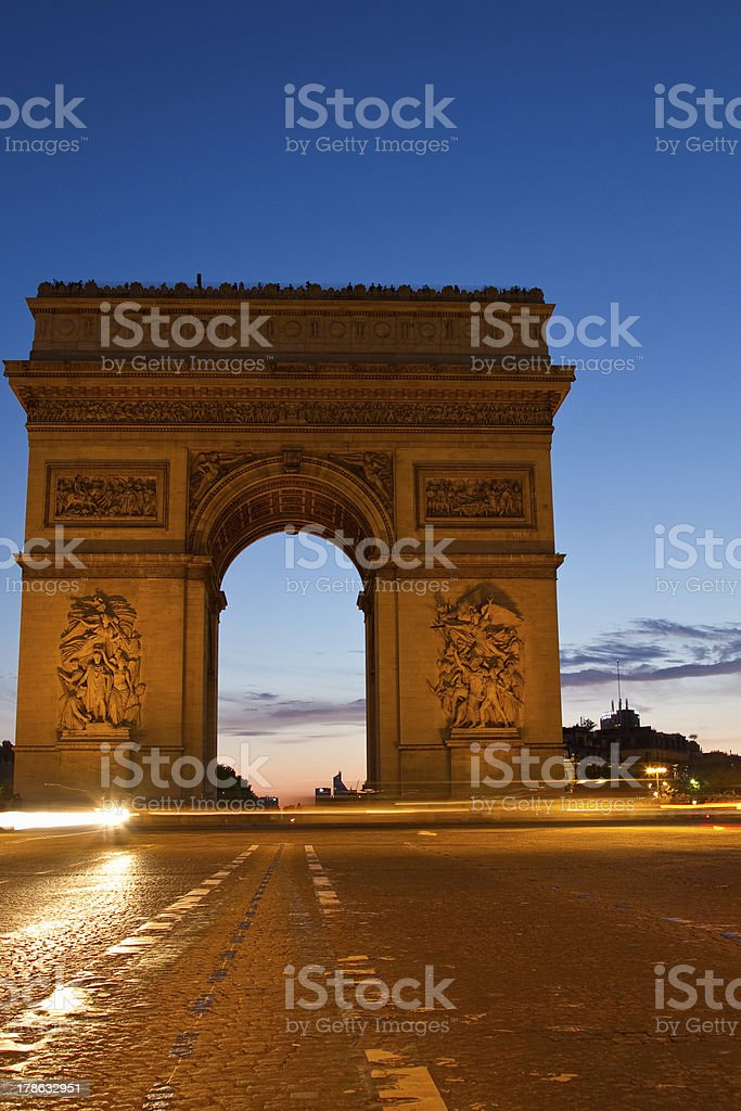 Arc de Tiomphe at night royalty-free stock photo