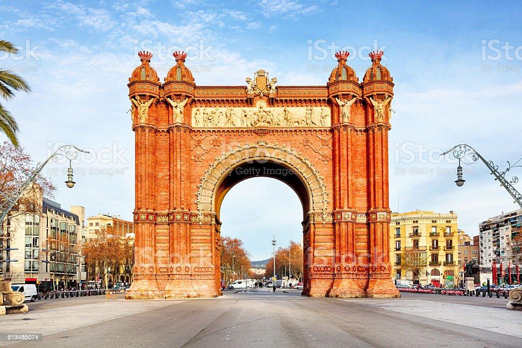 Arc de Triomph in Barcelona, Catalonia Spain stock photo