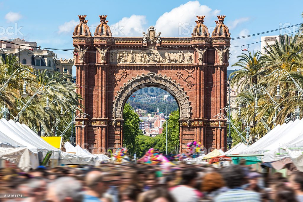 Arc de Triomph in Barcelona on a market day. stock photo