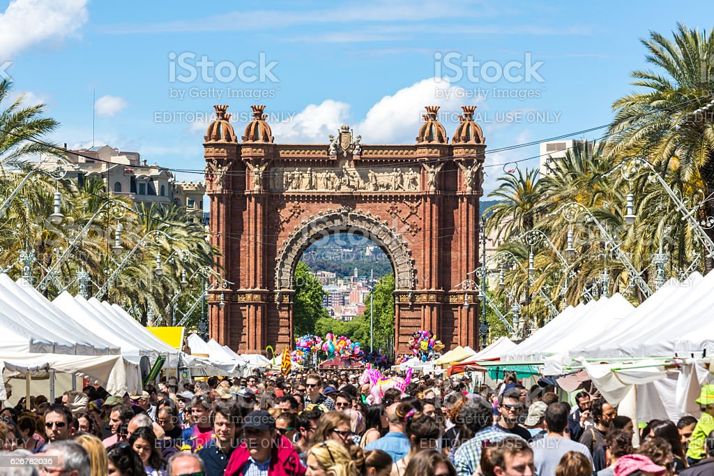 Arc de Triomph in Barcelona on a market day. stock photo