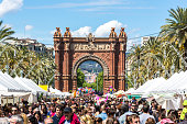 Arc de Triomph in Barcelona on a market day.
