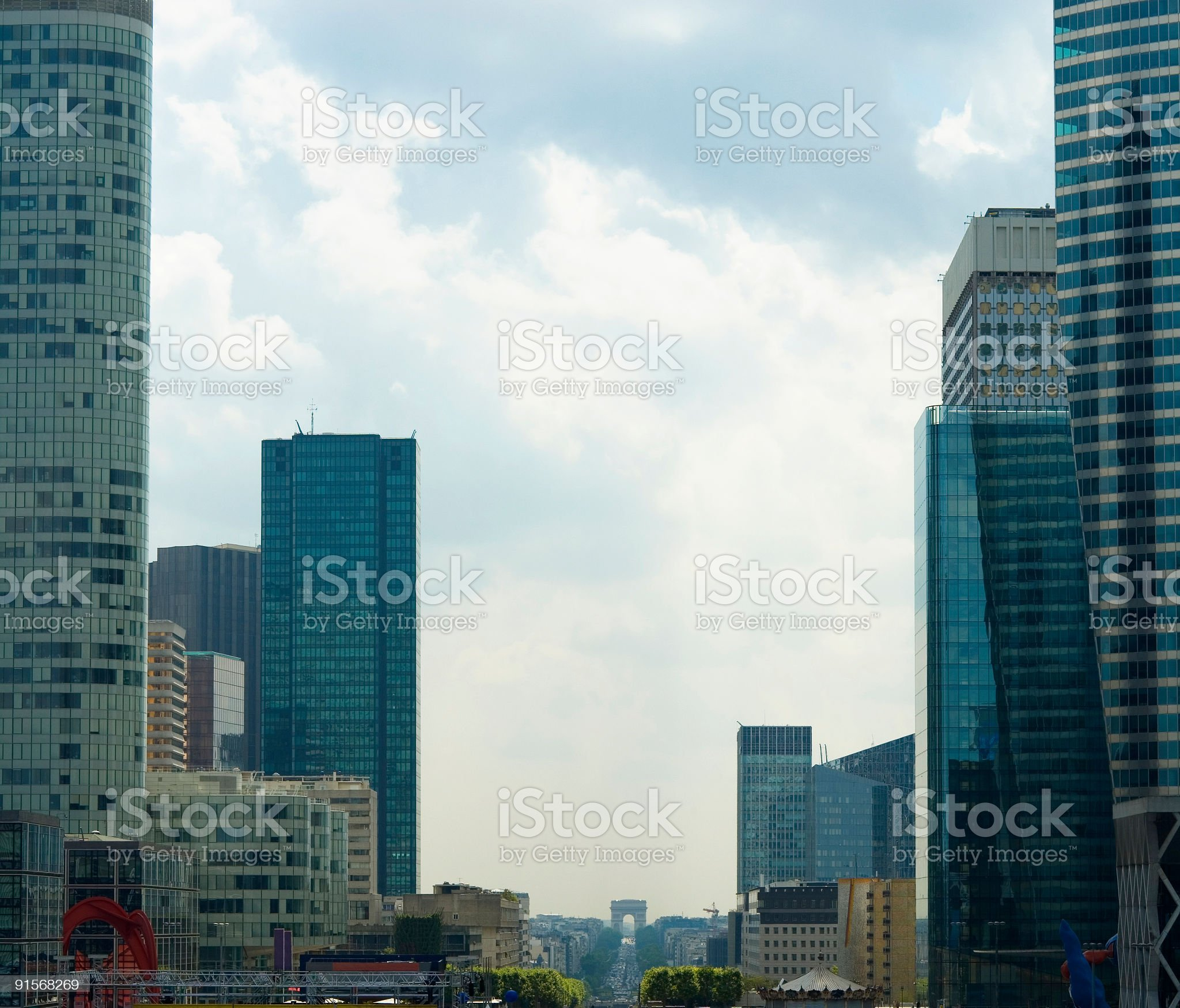 Arc de Triomphe and skyscrapers royalty-free stock photo