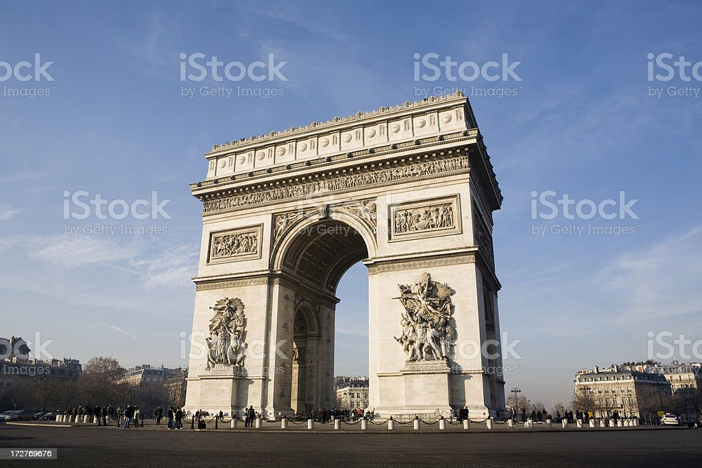 Arc de Triomphe and Traffic Circle, Paris, France stock photo