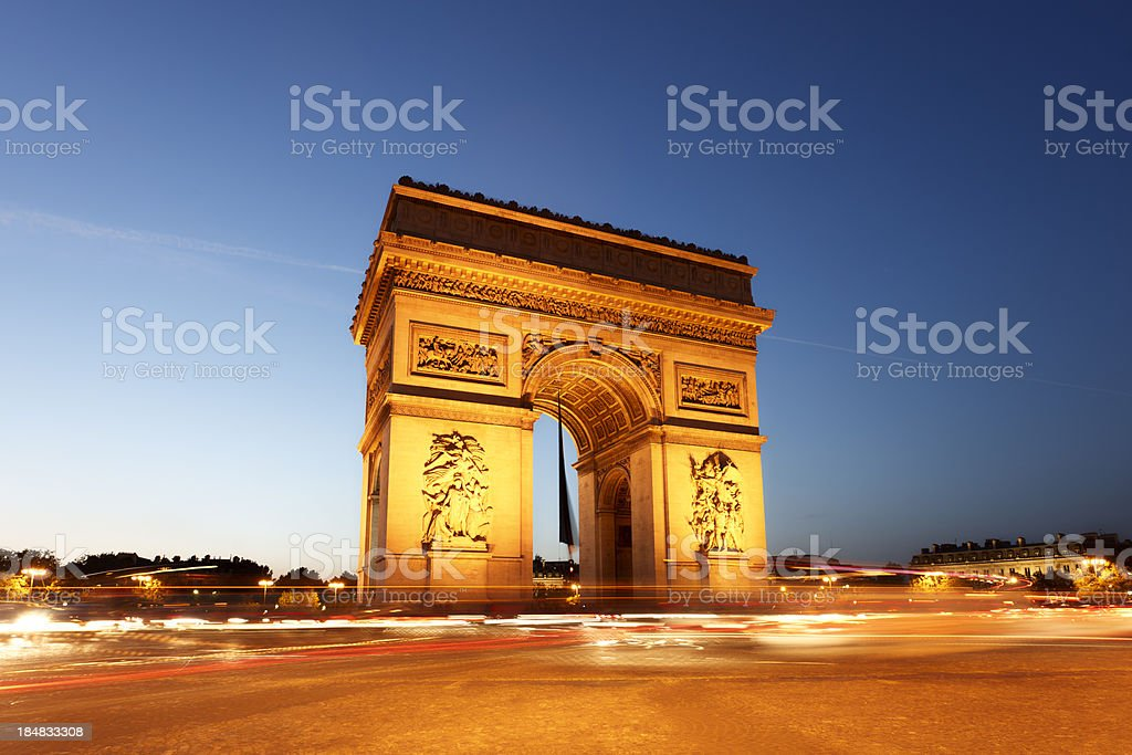 Arc de Triomphe at night royalty-free stock photo
