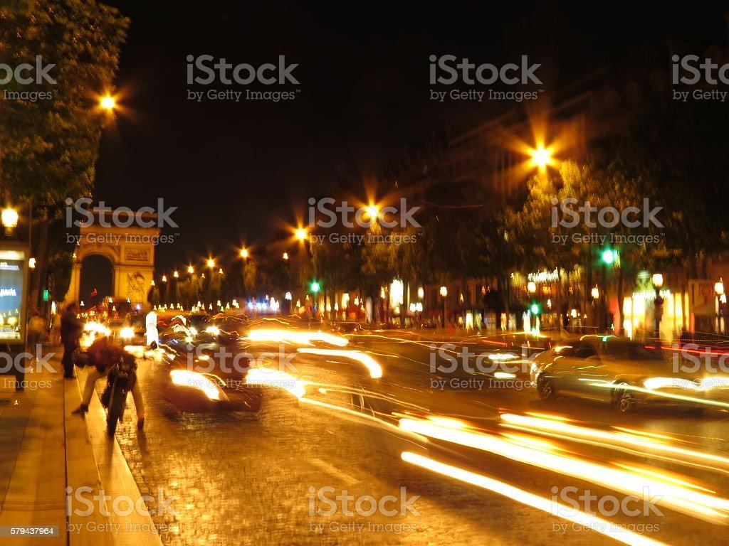 Arc De Triomphe at night stock photo