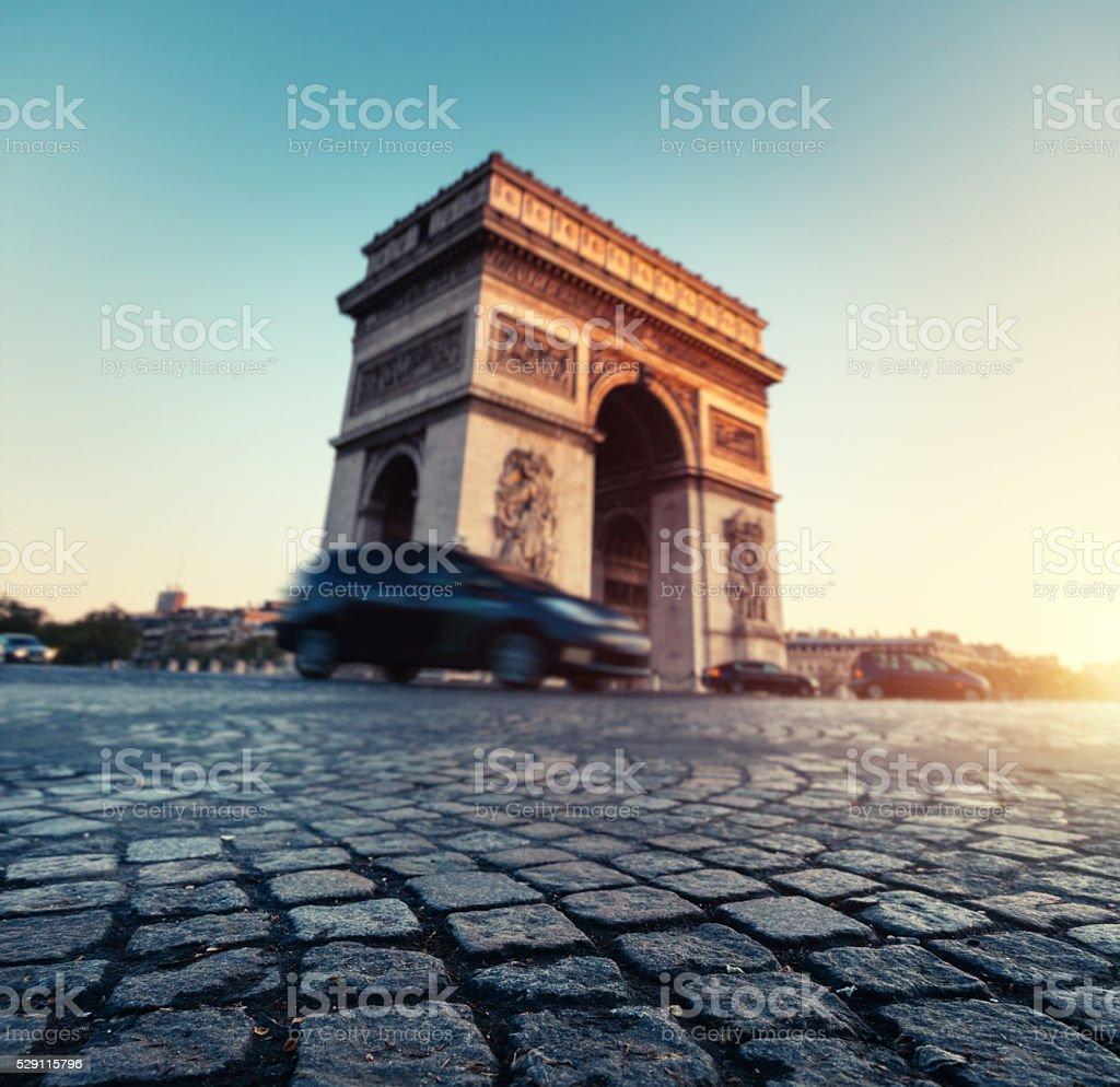 Arc de Triomphe At Sunrise stock photo