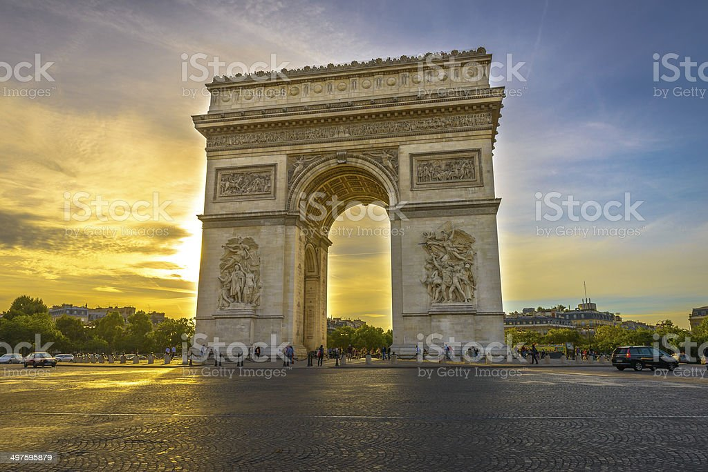 Arc de Triomphe at sunset stock photo