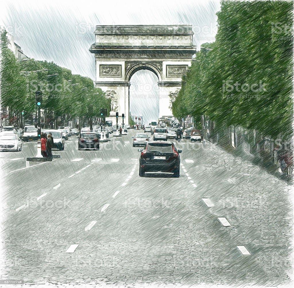 Arc de Triomphe, Avenue des Champs-Elysees in Paris. Digital illustration stock photo