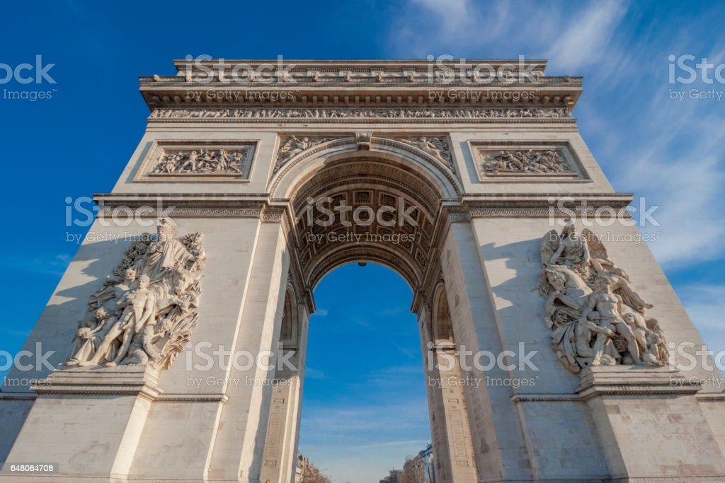 Arc de triomphe de l'Étoile (Arch of Triumph), Paris, France. stock photo