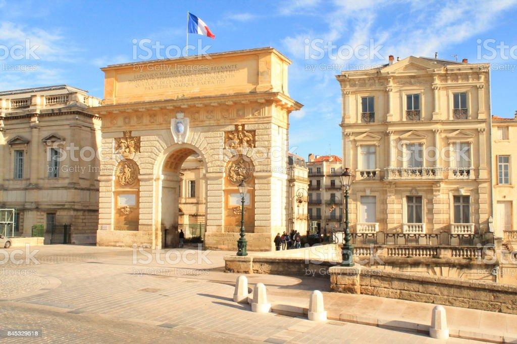 Arc de triomphe de Montpellier, France stock photo