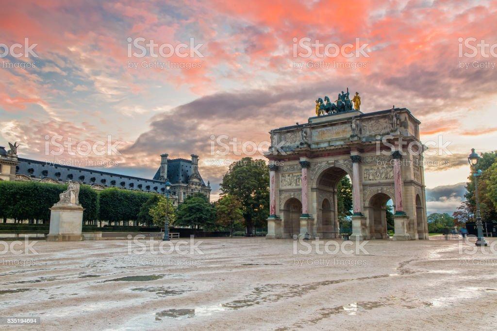 Arc de Triomphe du Carrousel at Sunset stock photo
