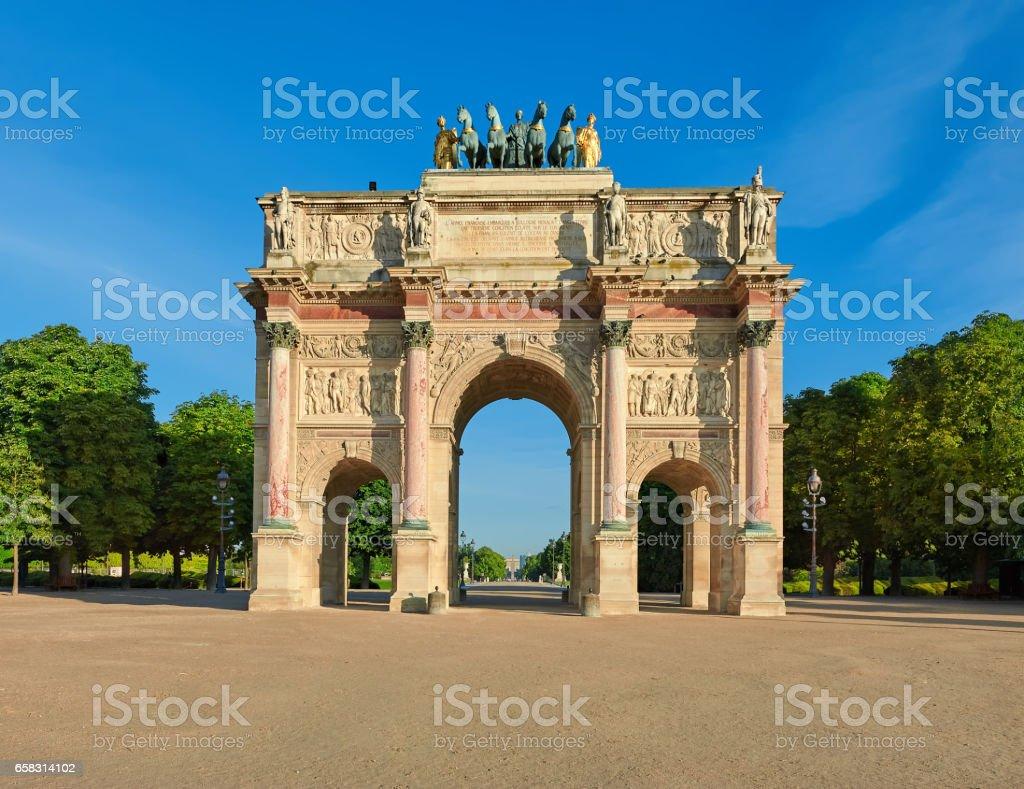 Arc de Triomphe du Carrousel in Paris, front view stock photo