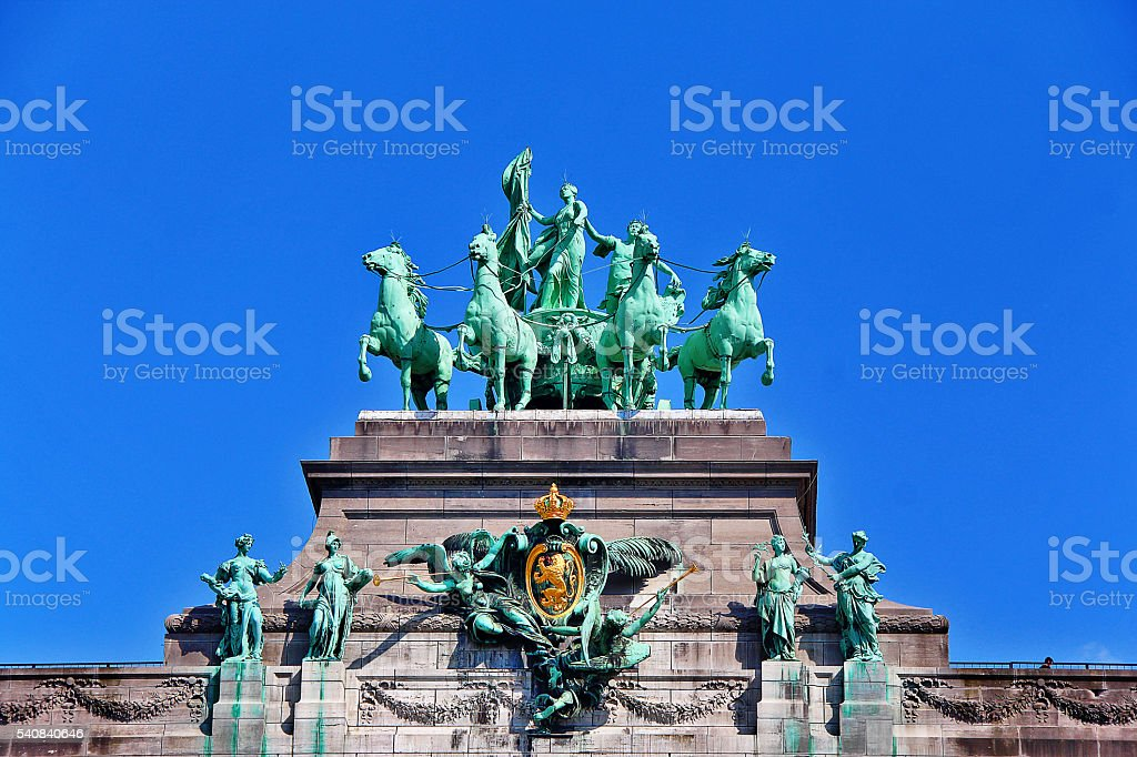 Arc de Triomphe in Cinquantenaire park (Jubelpark), Brussels (Bruxelles), Belgium stock photo
