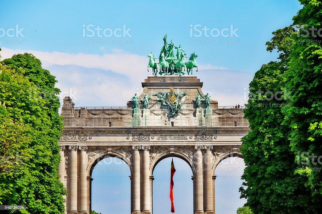Arc de Triomphe in Cinquantenaire park or Jubelpark, Brussels (Bruxelles) stock photo