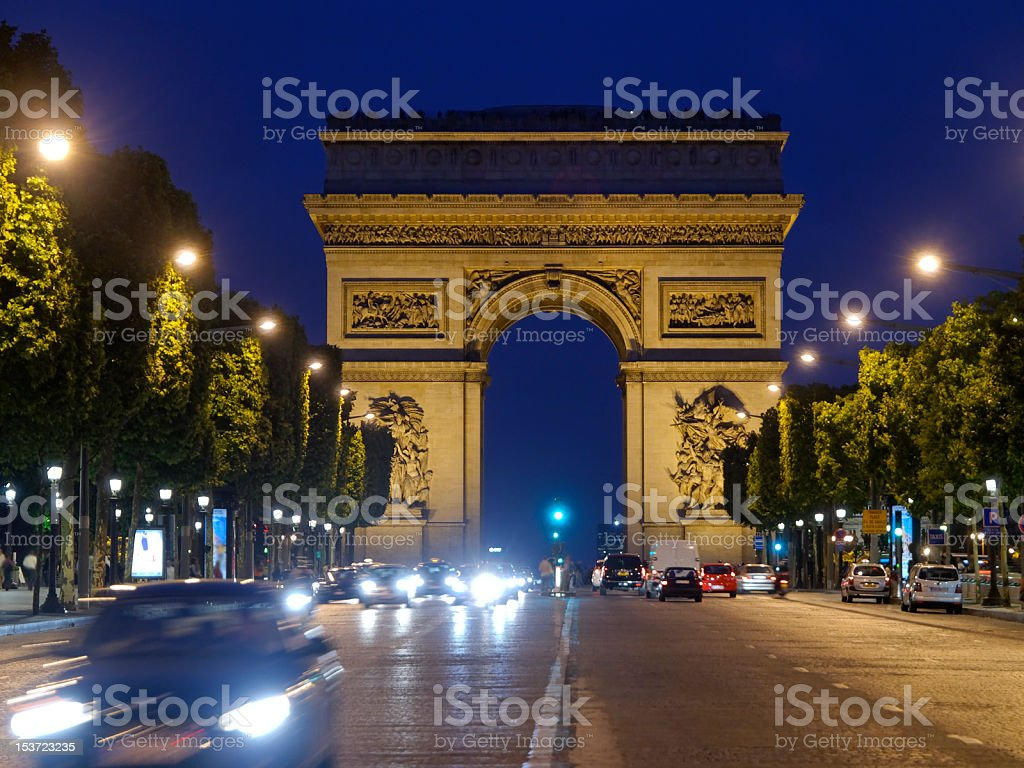 Arc de Triomphe in Paris at Night royalty-free stock photo