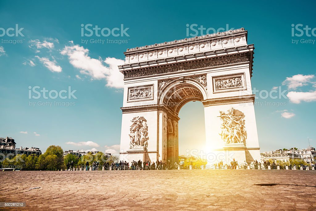arc de triomphe in paris at sunny morning stock photo