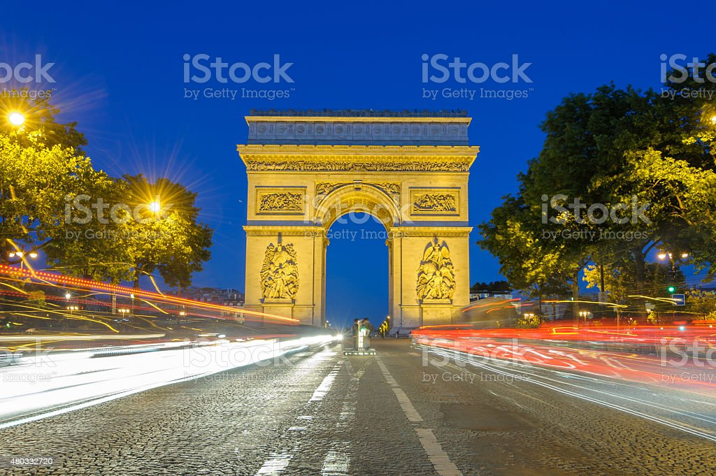 Arc de Triomphe in Paris , France stock photo
