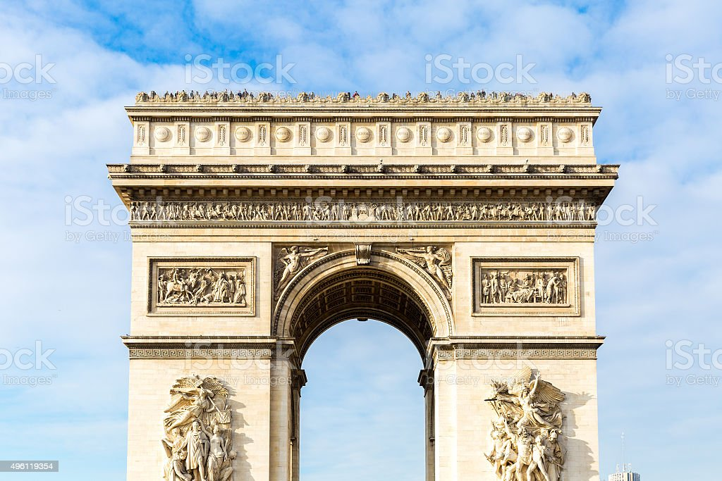 Arc de Triomphe in Paris, France stock photo